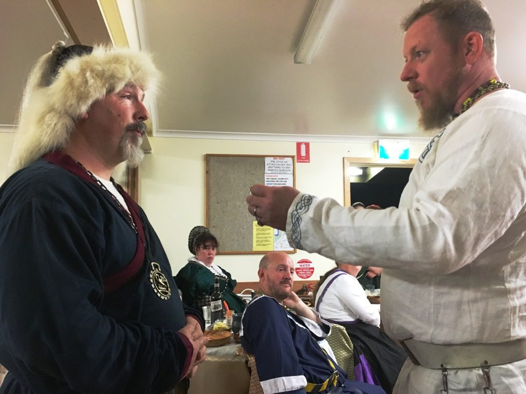 Crown Prince ThorolfR presented Orlok Hanbal with the Baronial ring of Stormhold, with the latter standing in as Vicar until Twelfth Night 2017. Photo by THB Ceara Shionnach, May 2016.
